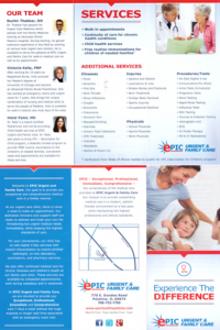 marketing material for urgent care healthcare communications information
